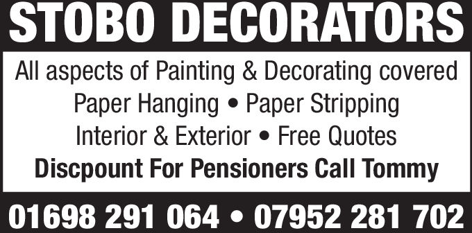 STOBO DECORATORSAll aspects of Painting & Decorating coveredPaper Hanging Paper StrippingInterior & Exterior. Free QuotesDiscpount For Pensioners Call Tommy01698 291 064 . 07952 281 702
