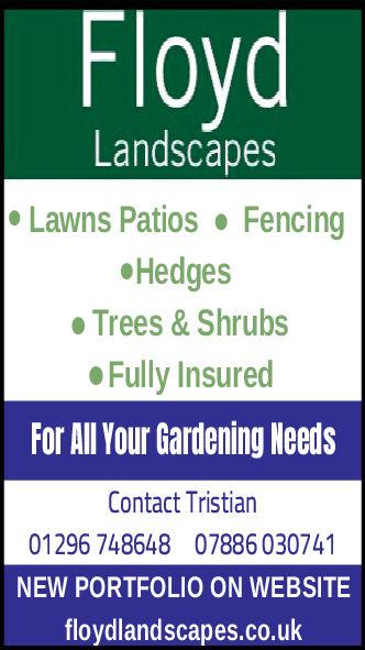 LandscapesLawns Patios FencingHedgesTrees & ShrubsFully InsuredFor All Your Gardening NeedsContact Tristian01296 748648 07886 030741NEW PORTFOLIO ON WEBSITEfloydlandscapes.co.uk