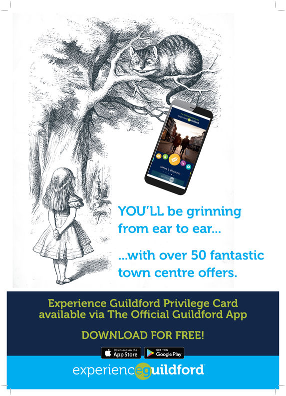 CANYOU'LL be grinningfrom ear to ear......with over 50 fantastictown centre offers.Experience Guildford Privilege Cardavailable via The Official Guildford AppDOWNLOAD FOR FREE!App StoreGoogle Playexperienceguildford