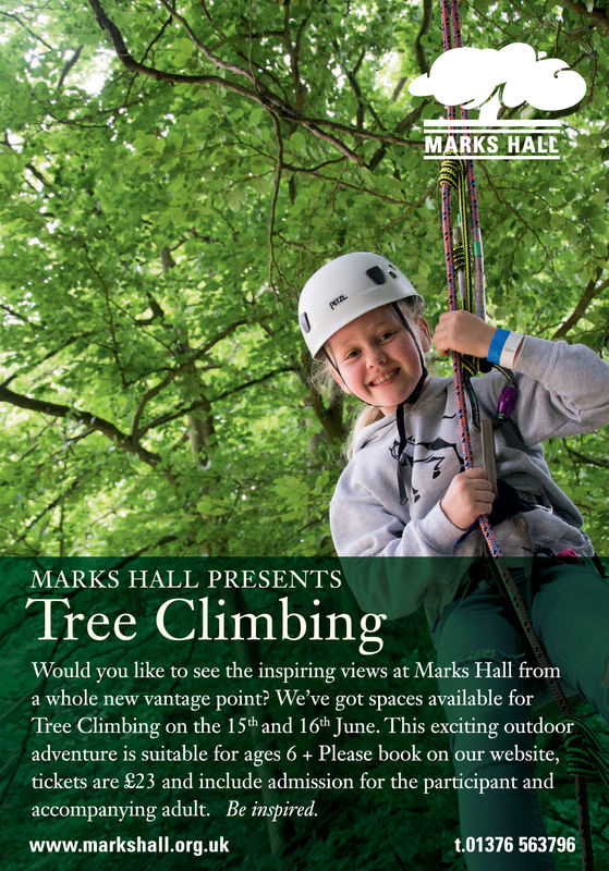 MARKS HALDMARKS HALL PRESENTSTree ClimbingWould you like to see the inspiring views at Marks Hall froma whole new vantage point? We've got spaces available forTree Climbing on the 15th and 16th June. This exciting outdooradventure is suitable for ages 6 Please book on our website,tickets are 923 and include admission for the participant andaccompanying adult. Be inspired.www.markshall.org.ukt.01376 563796