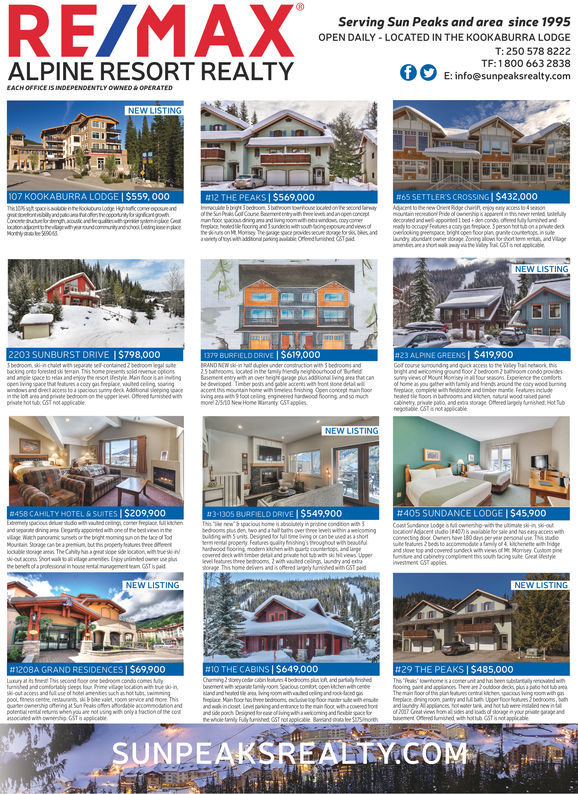 RE/MAServing Sun Peaks and area since 1995OPEN DAILY LOCATED IN THE KOOKABURRA LODGET: 250 578 8222TF: 1800 663 2838E: info@sunpeaksrealty.comALPINE RESORT REALTY107 KOOKABURRA LODGE   $559,000#12 THE PEAKS   $569,000#65 SETTLERS CROSSING$432,0002203 SUNBURST DRIVE  S798,000BURFIELD DRIVE   $619,000#23 ALPNE GREENS!$419,900priate horNEW LISTING#458 CAHILTY HOTEL & SUITES$209,900#3-1305 BURFELD DRIVE$549,900#405 SUNDANCE LODGE   $45,900NEW LISTING#1208A GRAND RESIDENCES   $69.900#10 THE CABINS   $649,000#29 THE PEAKS   $485,000UNPEAKSREALTY COM