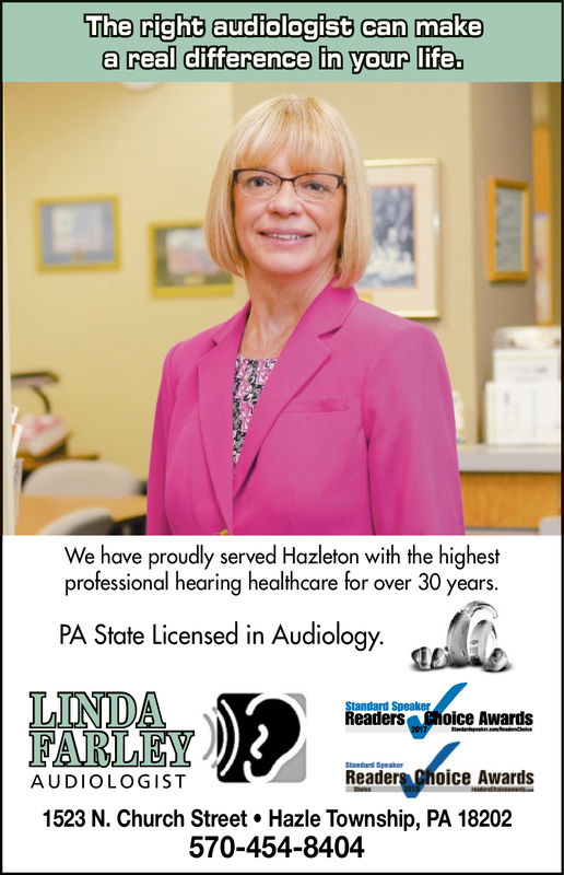 The right audiologist can makea real difference in your life.We have proudly served Hazleton with the highestprofessional hearing healthcare for over 30 years.PA State Licensed in Audiology.LINDAReaders oice awardsStandard SuealierStandard SpeakerReaders Choice AwardsAUDIOLOGIST1523 N. Church Street. Hazle Township, PA 18202570-454-8404