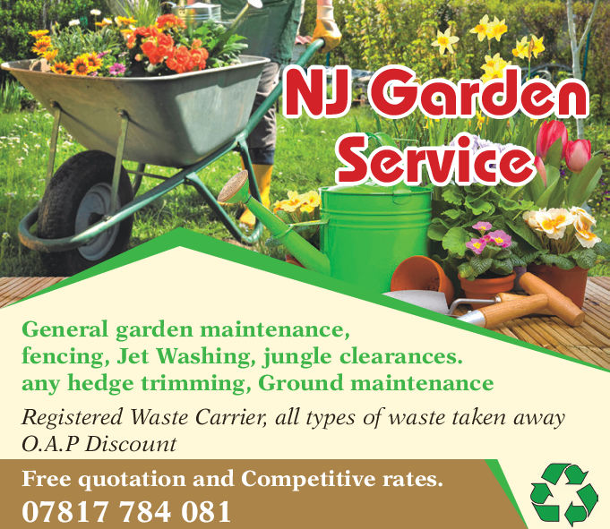 NI GardenServicCGeneral garden maintenance,fencing, Jet Washing, jungle clearances.any hedge trimming, Ground maintenanceRegistered Waste Carrier, all types of waste taken awayO.A.P DiscountFree quotation and Competitive rates.07817 784 081 NI Garden ServicC General garden maintenance, fencing, Jet Washing, jungle clearances. any hedge trimming, Ground maintenance Registered Waste Carrier, all types of waste taken away O.A.P Discount Free quotation and Competitive rates. 07817 784 081
