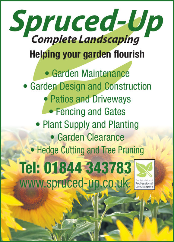 Spruced-UpComplete LandscapingHelping your garden flourish. Garden MaintenanceGarden Design and ConstructionPatios and DrivewaysFencing and GatesPlant Supply and PlantingGarden ClearanceHedge Cutting and Tree PruningTel: 01844 343783www.spruced-up.co Spruced-Up Complete Landscaping Helping your garden flourish . Garden Maintenance Garden Design and Construction Patios and Driveways Fencing and Gates Plant Supply and Planting Garden Clearance Hedge Cutting and Tree Pruning Tel: 01844 343783 www.spruced-up.co