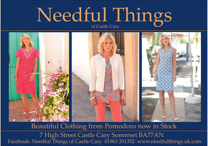 Needful Thingsof Castle CaryBeautiful Clothing from Pomodoro now in Stock7 High Street Castle Cary Somerset BA77ANFacebook: Needful Things of Castle Cary 01963 351352 www.needfulthings.uk.com