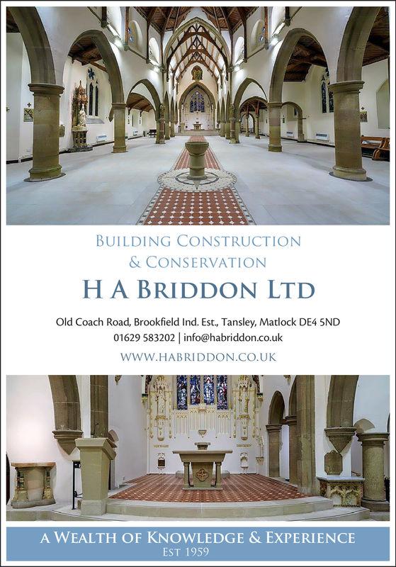 BUILDING CONSTRUCTION& CONSERVATIONH A BRIDDON LTDOld Coach Road, Brookfield Ind. Est., Tansley, Matlock DE4 5ND01629 583202 info@habriddon.co.ukWWW.HABRIDDON.CO.UKA WEALTH OF KNOWLEDGE & EXPERIENCEEST 1959
