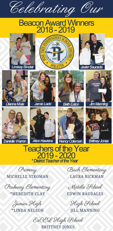 Celebrating CurBeacon Award Winners2018-2019NDENT1847Lindsay SindairJavier SaucedaDianna MuaJamie LaddBeth Eaton J ManningDanielle Warren Alton HawkinsNancy Coleman Brithey JonesTeachers of the Year2019-2020District Teacher of the YearPrimaryementaMICHELLE STROMANLAURA RICKMANPakway ClementanyEDWIN RAUDALESMEREDITH CLAYLINDA NELSONJILL MANNINGBRITTNEY JONES Celebrating Cur Beacon Award Winners 2018-2019 NDENT 1847 Lindsay Sindair Javier Sauceda Dianna Mua Jamie Ladd Beth Eaton J Manning Danielle Warren Alton HawkinsNancy Coleman Brithey Jones Teachers of the Year 2019-2020 District Teacher of the Year Primary ementa MICHELLE STROMAN LAURA RICKMAN Pakway ClementanyEDWIN RAUDALES MEREDITH CLAY LINDA NELSON JILL MANNING BRITTNEY JONES