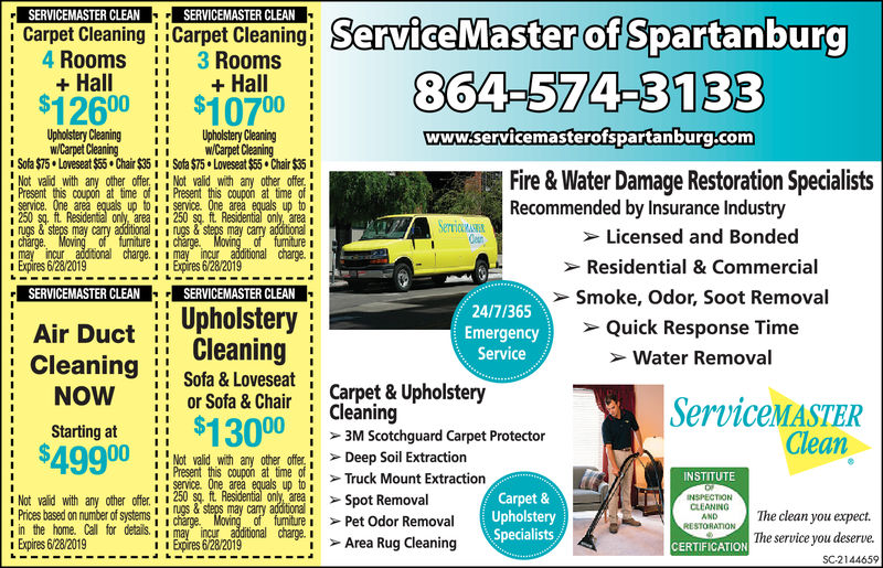 """SERVICEMASTER CLEANSERVICEMASTER CLEANof864-574-3133www.servicemasterofspartanburg.comCarpet Cleaning !Carpet Cleaning: ServiceMasteri 4 Rooms 3 Rooms$11610011$97