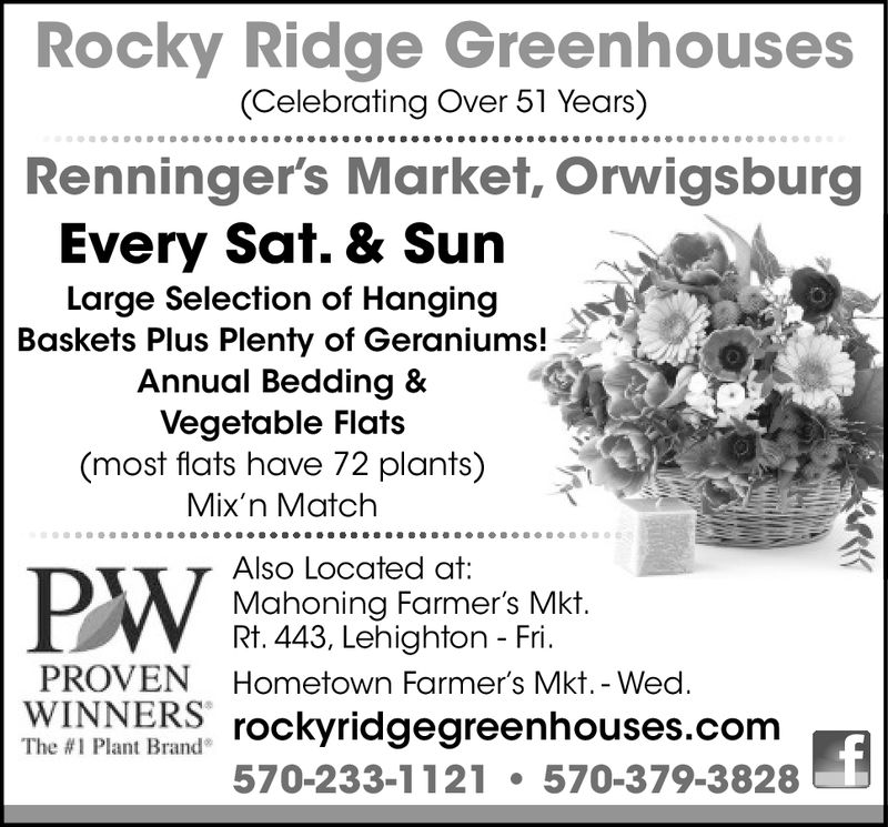 "Rocky Ridge Greenhouses(Celebrating Over 51 Years)Renningers Market, OrwigsburgEvery Sat. & SunLarge Selection of HangingBaskets Plus Plenty of Geraniums!Annual Bedding &Vegetable Flats(most flats have 72 plants)Mix'n MatchAlso Located at:Mahoning Farmer's Mkt.Rt. 443, Lehighton - Fri.PWPROVEN Hometown Farmer's Mkt. - WedWINNERSThe #1 Plant Brand""rockyridgegreenhouses.conm570-233-1121570-379-3828 Rocky Ridge Greenhouses (Celebrating Over 51 Years) Renningers Market, Orwigsburg Every Sat. & Sun Large Selection of Hanging Baskets Plus Plenty of Geraniums! Annual Bedding & Vegetable Flats (most flats have 72 plants) Mix'n Match Also Located at: Mahoning Farmer's Mkt. Rt. 443, Lehighton - Fri. PW PROVEN Hometown Farmer's Mkt. - Wed WINNERS The # 1 Plant Brand "" rockyridgegreenhouses.conm 570-233-1121570-379-3828"