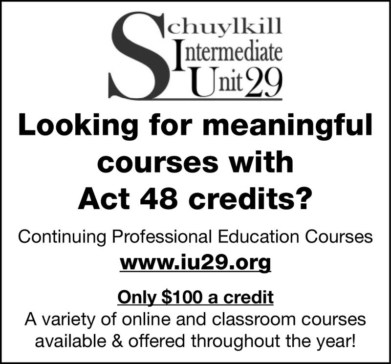 chuylkill[ntermediateUnit29Looking for meaningfulcourses withAct 48 credits?Continuing Professional Education Courseswww.iu29.orgOnly $100 a creditA variety of online and classroom coursesavailable & offered throughout the year! chuylkill [ntermediate Unit29 Looking for meaningful courses with Act 48 credits? Continuing Professional Education Courses www.iu29.org Only $100 a credit A variety of online and classroom courses available & offered throughout the year!
