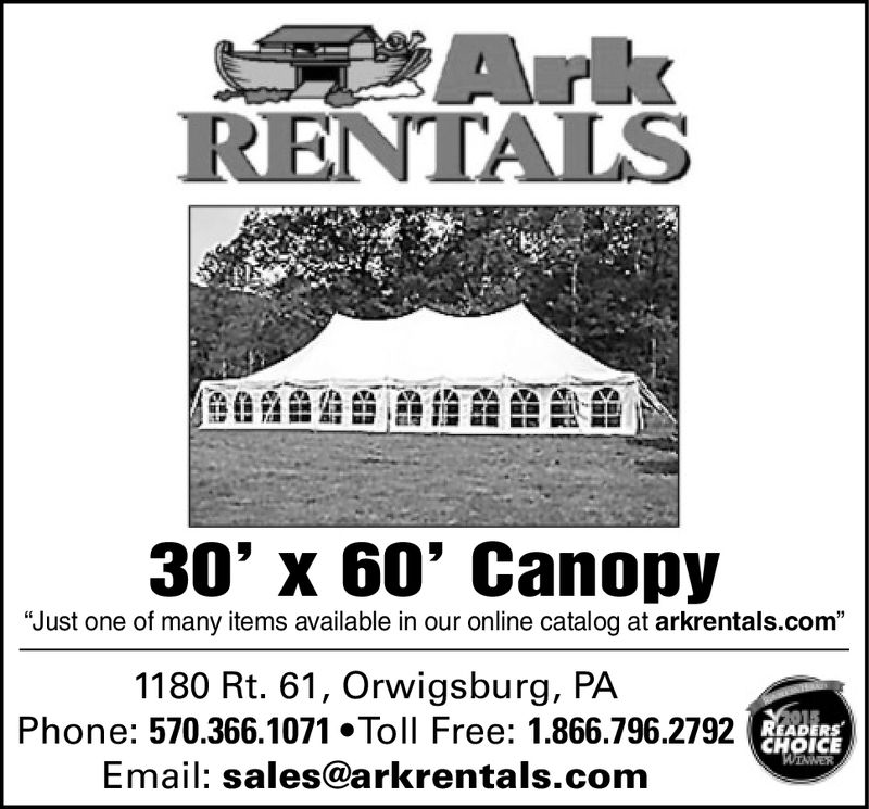 "RENTALS30' x 60' Canopy""Just one of many items available in our online catalog at arkrentals.com""1180 Rt. 61, Orwigsburg, PAPhone: 570.366.1071 Toll Free: 1.866.796.2792Email: sales@arkrentals.comCHOICE RENTALS 30' x 60' Canopy ""Just one of many items available in our online catalog at arkrentals.com"" 1180 Rt. 61, Orwigsburg, PA Phone: 570.366.1071 Toll Free: 1.866.796.2792 Email: sales@arkrentals.com CHOICE"