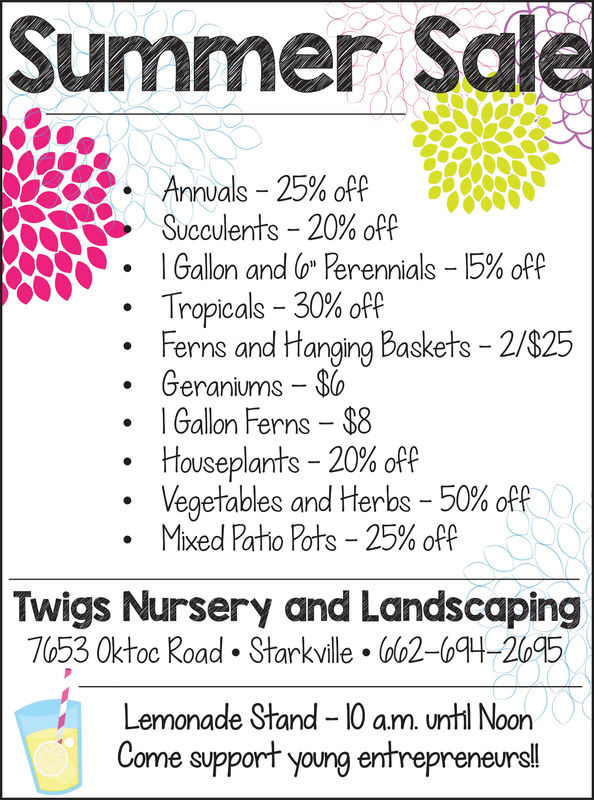 """Summer SaleAnnuals-25% off.Succulents-20% offIGallon andG)""""Perennials-15%off,-.Tropicals-30% offFerns and Hanging Baskets - 2/$25Geraniums ol Gallon Ferns 08Houseplants-20% offVegetables and Herbs-50% offMixed Patio Pots-25% offTwigs Nursery and Landscaping7053 Oktoc Road Starkville. 02-04-2095Lemonade Stand -10 am. until NoonCome support young entrepreneurs Summer Sale Annuals - 25 % off . Succulents - 20 % off IGallon andG ) """" Perennials - 15 % off , - . Tropicals - 30 % off Ferns and Hanging Baskets - 2/$25 Geraniums o l Gallon Ferns 08 Houseplants - 20 % off Vegetables and Herbs - 50 % off Mixed Patio Pots - 25 % off Twigs Nursery and Landscaping 7053 Oktoc Road Starkville. 02-04-2095 Lemonade Stand -10 am. until Noon Come support young entrepreneurs"""