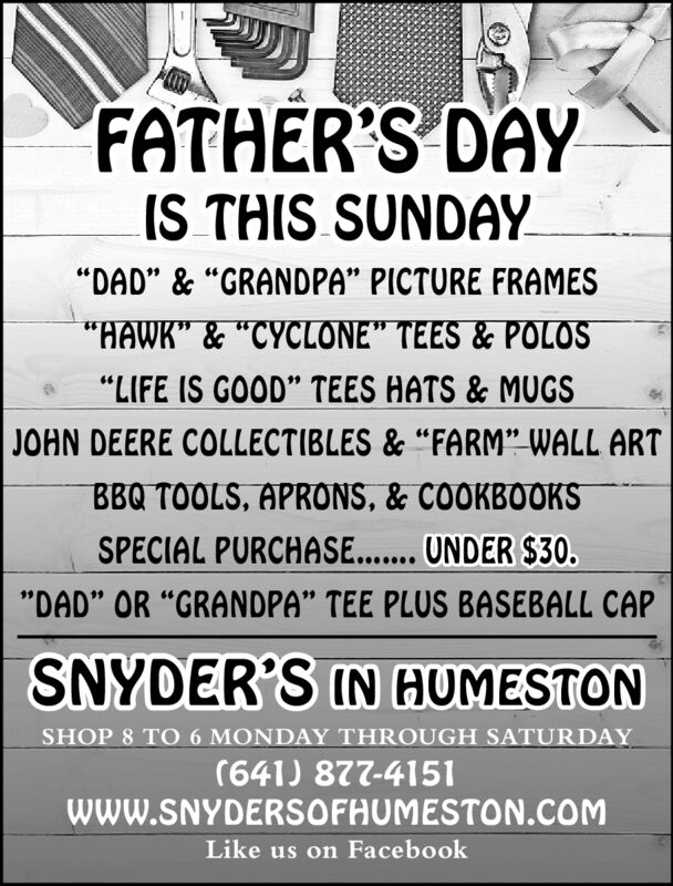 """FATHER'S DAYIS THIS SUNDAY""""DAD"""" & """"GRANDPA"""" PICTURE FRAMES""""HAWK""""& """"CYCLONE"""" TEES&POLOS""""LIFE IS GOOD"""" TEES HATS & MUGS