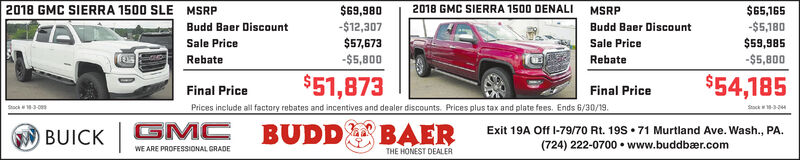 2018 GMC SIERRA 1500 SLE$69,980-$12,3072018 GMC SIERRA 1500 DENALI$65,165-$5,180MSRPMSRPBudd Baer DiscountBudd Baer DiscountSale Price$57,673-$5,800$59,985-$ 5,800Sale PriceRebateRebate$51,873$54,185Final PriceFinal PricePrices include all factory rebates and incentives and dealer discounts. Prices plus tax and plate fees. Ends 6/30/19.Sock -3-2Stock18-3-00sGMCBUDDBAERExit 19A Off I-79/70 Rt. 19S 71 Murtland Ave. Wash., PA.(724) 222-0700 www.buddbær.comBUICKWE ARE PROFESSIONAL GRADETHE HONEST DEALER 2018 GMC SIERRA 1500 SLE $69,980 -$12,307 2018 GMC SIERRA 1500 DENALI $65,165 -$5,180 MSRP MSRP Budd Baer Discount Budd Baer Discount Sale Price $57,673 -$5,800 $59,985 -$ 5,800 Sale Price Rebate Rebate $51,873 $54,185 Final Price Final Price Prices include all factory rebates and incentives and dealer discounts. Prices plus tax and plate fees. Ends 6/30/19. Sock -3-2 Stock18-3-00s GMC BUDD BAER Exit 19A Off I-79/70 Rt. 19S 71 Murtland Ave. Wash., PA. (724) 222-0700 www.buddbær.com BUICK WE ARE PROFESSIONAL GRADE THE HONEST DEALER