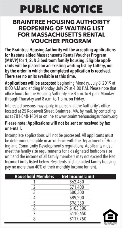 PUBLIC NOTICEBRAINTREE HOUSING AUTHORITYREOPENING OF WAITING LISTFOR MASSACHUSETTS RENTALVOUCHER PROGRAMThe Braintree Housing Authority will be accepting applicationsfor its state aided Massachusetts Rental Voucher Program(MRVP) for 1, 2,& 3 bedroom family housing. Eligible appli-cants will be placed on an existing waiting list by Lottery, notby the order in which the completed application is received.There are no units available at this time.Applications will be accepted beginning Monday, July 8, 2019 at8:00A.M and ending Monday, July 29 at 4:00 PM. Please note thatoffice hours for the Housing Authority are 8 a.m.to 4 p.m. Mondaythrough Thursday and 8 a.m. to 1 p.m. on FridayInterested persons may apply, in person, at the Authority's officelocated at 25 Roosevelt Street, Braintree, MA, by mail, by contactingus at 781-848-1484 or online at www.braintreehousingauthority.orgPlease note: Applications will not be sent or received by faxor e-mail.Incomplete applications will not be processed. All applicants mustbe determined eligible in accordance with the Department of Hous-ing and Community Development's regulations. Applicants mustmeet the family size requirements for a designated bedroom sizeunit and the income of all family members may not exceed the NetIncome Limits listed below. Residents of state-aided family housingpay no more than 40% of their monthly income for rent.Net Income Limit$62,450$71,400$80,300$89,200$96,350$103,500$110,650$117,750Household Members1234568OUseNa5S ONITYT PUBLIC NOTICE BRAINTREE HOUSING AUTHORITY REOPENING OF WAITING LIST FOR MASSACHUSETTS RENTAL VOUCHER PROGRAM The Braintree Housing Authority will be accepting applications for its state aided Massachusetts Rental Voucher Program (MRVP) for 1, 2,& 3 bedroom family housing. Eligible appli- cants will be placed on an existing waiting list by Lottery, not by the order in which the completed application is received. There are no units available at this time. Applications will be accepted be
