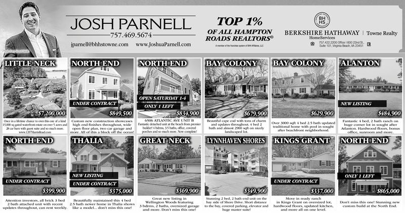 JOSH PARNELL757.469.5674BHHSTOP 1%OF ALL HAMPTONROADS REALTORSBERKSHIRE HATHAWAY I Towne RealtyHomeServices422 2200 Ofice600 22ndSute 101,Vigina Beach, VA 23451ipamell@bhhstowne.comwww.joshuaParnell.comNORTH ENDBAY COLONYALANTONLITTLE NECKNORTH ENDBAY COLONYOPEN SATURDAY 1-4UNDER CONTRACTNEW LISTINGONLY 1 LEFT$679,900$629,900$484,900$7,200,000$849,500$834,900Beml cape cod wah sons of charmand updates throughout 4 bed 2bath and almoss 2900 sqft on nicclylandscaped lo.6506 ATLANTIC AVE UNIT BFantastic detahed unt t he beah fon pamirbudet4 bdm 55 bath office, coeredpondhes and so moch mow. Now compleebuth ranchlot in soughr afAtlanton, Hardwood floors, bonusoffice, sunroom and moreFantastic 4 bed.Once in a lifetine dhance to own dis one of a kindction showcasesOver 3000 sqft 4 bed 2.5 bath updatedtraditional home wih pool in soughtafter beachfront neighboehoodandopen floor plan, two car garage andmore. All of this a block off the oceanSarbem wih pes site and so much more.www.157HaadcomNORTH ENDTHALIAGREAT NECKLYNNHAVEN SHORESKINGS GRANTNORTH ENDONLY 1 LEFTNEW LISTINGUNDER CONTIRACTUNDER CONTRACTUNDER CONTRACT349,900$399,900$369,900$375,000$337,000$865,000Move in ready ranchin KinGreat new listing inStunning 2 bed, 2 both end unit on theAttention inestors, all brick 3 bed2 bath attached unit with recentupdates throughout, can rent weekly. like a model... don't miss this oneBeautifully maintained this 4 bed2.5 bath newer home in Thalia showsShore 12nve and more all on one levelhupe master sitebandsod o on che kinchen,featuringraged lot.Don't miss this onet Stunning newcustom hild at the Noh udwshto the bayevatorand more. Don't miss this one20 JOSH PARNELL 757.469.5674 BH HS TOP 1% OF ALL HAMPTON ROADS REALTORS BERKSHIRE HATHAWAY I Towne Realty HomeServices 422 2200 Ofice600 22nd Sute 101,Vigina Beach, VA 23451 ipamell@bhhstowne.com www.joshuaParnell.com NORTH END BAY COLONY ALANTON LITTLE NECK NORTH END BAY COLONY OPEN SATURDAY 1-4 UNDER CONTRACT NEW LISTING ONLY 1 LEFT 
