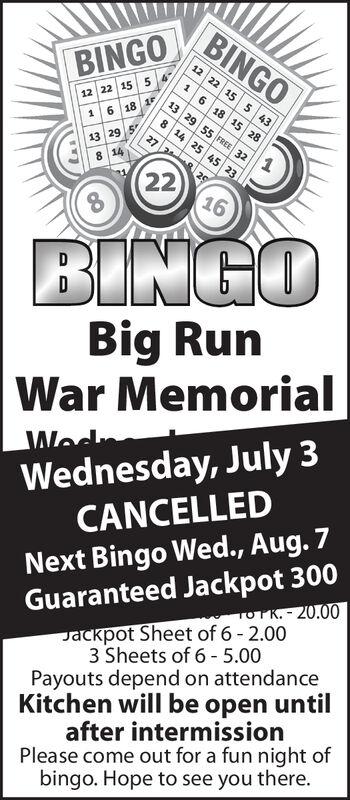 BINGO12 22BINGO61155 436 18 15 2813 29 55 FREE 3212 22 156 18 18 14 25 45 23127 2 913 29 58 14202216BINGOBig RunWar MemorialWednesday, July 3CANCELLEDWodNext Bingo Wed., Aug. 7Guaranteed Jackpot 300PK.-20.00Jackpot Sheet of 6 - 2.003 Sheets of 6-5.00Payouts depend on attendanceKitchen will be open untilafter intermissionPlease come out for a fun night ofbingo. Hope to see you there. BINGO 12 22 BINGO 6 1 15 5 43 6 18 15 28 13 29 55 FREE 32 12 22 15 6 18 1 8 14 25 45 23 1 27 2 9 13 29 5 8 14 20 22 16 BINGO Big Run War Memorial Wednesday, July 3 CANCELLED Wod Next Bingo Wed., Aug. 7 Guaranteed Jackpot 300 PK.-20.00 Jackpot Sheet of 6 - 2.00 3 Sheets of 6-5.00 Payouts depend on attendance Kitchen will be open until after intermission Please come out for a fun night of bingo. Hope to see you there.