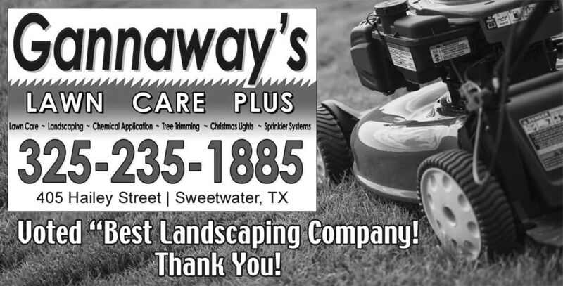 """Gannaway'sLAWN CARE PLUSLawn Care-Landscaping-Chemical Application Te Triming Chistmas Lights Spinker Systems325-235-1885405 Hailey Street 