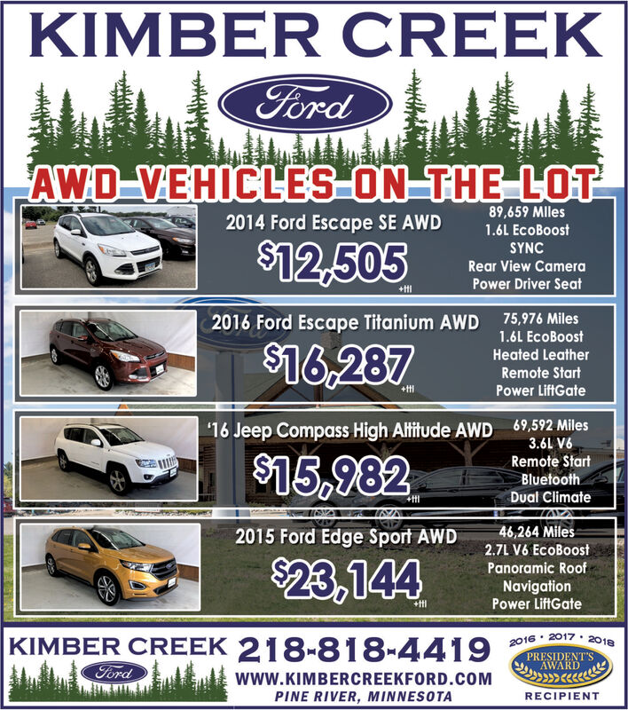 KIMBER CREEKFordAWD-VEHICLES-ON THE LOT89,659 MIles2014 Ford Escape SE AWD1.6L EcoBoost$12,505SYNCRear View CameraPower Driver Seat+tt75,976 Miles2016 Ford Escape Titanium AWD1.6L EcoBoost$16,287Heated LeatherRemote Start+ttPower LiftGate69,592 Miles3.6L V616 Jeep Compass High Altitude AWD$15,982Remote StartBluetoothDual Climate46,264 Miles2015 Ford Edge Sport AWD2.7L V6 EcoBoost$23,144Panoramic RoofNavigationPower LiftGate+ttKIMBER CREEK 218-818-44192016 2017 2018PRESIDENT'SAWARDFordwww.KIMBERCREEKFORD.COMPINE RIVER, MINNESOTARECIPIENT KIMBER CREEK Ford AWD-VEHICLES-ON THE LOT 89,659 MIles 2014 Ford Escape SE AWD 1.6L EcoBoost $12,505 SYNC Rear View Camera Power Driver Seat +tt 75,976 Miles 2016 Ford Escape Titanium AWD 1.6L EcoBoost $16,287 Heated Leather Remote Start +tt Power LiftGate 69,592 Miles 3.6L V6 16 Jeep Compass High Altitude AWD $15,982 Remote Start Bluetooth Dual Climate 46,264 Miles 2015 Ford Edge Sport AWD 2.7L V6 EcoBoost $23,144 Panoramic Roof Navigation Power LiftGate +tt KIMBER CREEK 218-818-4419 2016 2017 2018 PRESIDENT'S AWARD Ford www.KIMBERCREEKFORD.COM PINE RIVER, MINNESOTA RECIPIENT