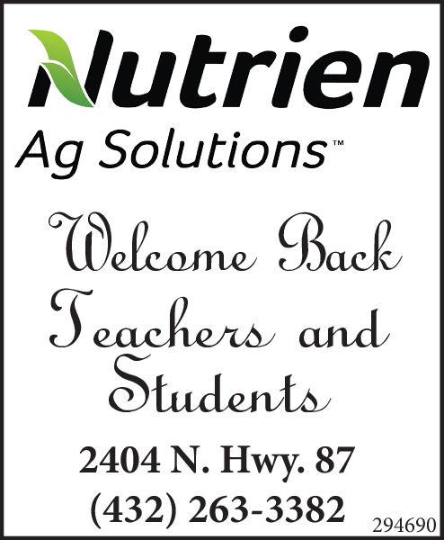 Nutrien|Ag SolutionsTMWelcome BackJeachers andStudents2404 N. Hwy. 87(432) 263-3382294690 Nutrien |Ag Solutions TM Welcome Back Jeachers and Students 2404 N. Hwy. 87 (432) 263-3382 294690