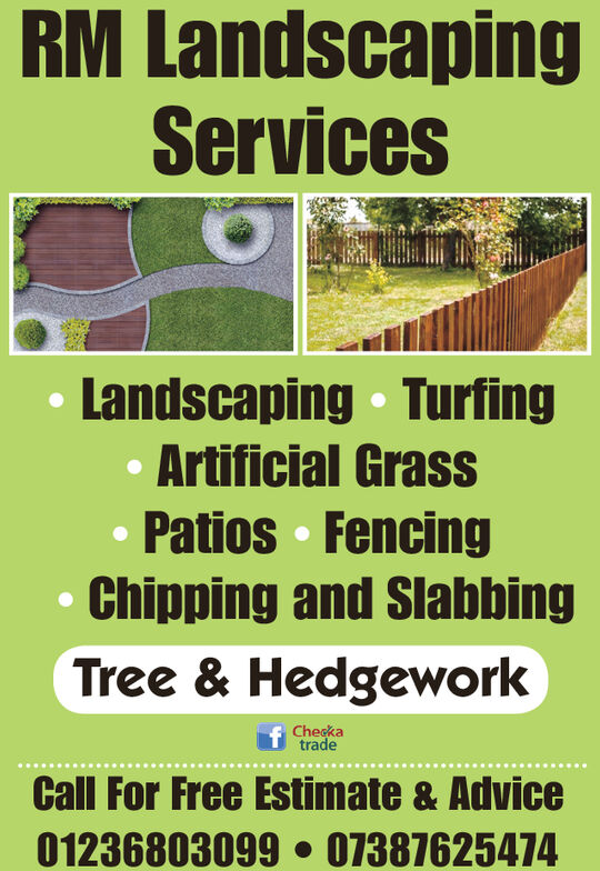 RM LandscapingServicesLandscaping TurfingArtificial GrassPatios FencingChipping and SlabbingTree & HedgeworkCheckatradeCall For Free Estimate & Advice01236803099 07387625474 RM Landscaping Services Landscaping Turfing Artificial Grass Patios Fencing Chipping and Slabbing Tree & Hedgework Checka trade Call For Free Estimate & Advice 01236803099 07387625474