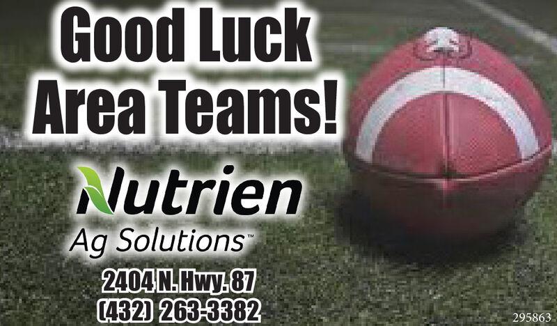 Good LuckArea Teams!NutrienAg Solutions2404N.Hwy.87(432) 263-3382295863 Good Luck Area Teams! Nutrien Ag Solutions 2404N.Hwy.87 (432) 263-3382 295863