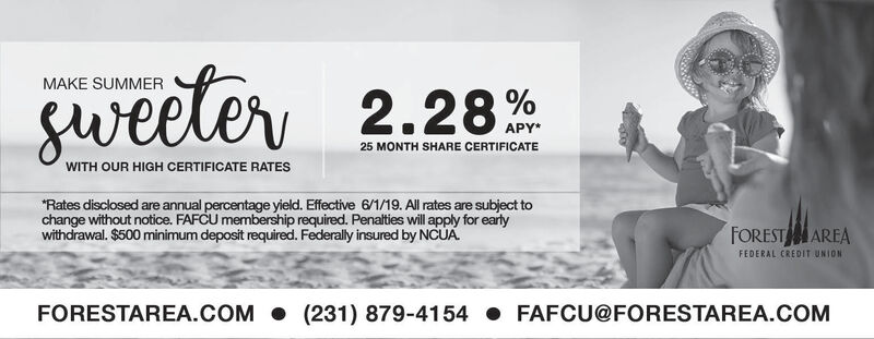 MAKE SUMMERSweeler2.28%APY*25 MONTH SHARE CERTIFICATEWITH OUR HIGH CERTIFICATE RATESRates disclosed are annual percentage yield. Effective 6/1/19. All rates are subject tochange without notice. FAFCU membership required. Penalties will apply for earlywithdrawal. $500 minimum deposit required. Federally insured by NCUAFOREST AREAFEDERAL CREDIT UNIONFORESTAREA.COM (231) 879-4154 FAFCU@FORESTAREA.COM MAKE SUMMER Sweeler 2.28% APY* 25 MONTH SHARE CERTIFICATE WITH OUR HIGH CERTIFICATE RATES Rates disclosed are annual percentage yield. Effective 6/1/19. All rates are subject to change without notice. FAFCU membership required. Penalties will apply for early withdrawal. $500 minimum deposit required. Federally insured by NCUA FOREST AREA FEDERAL CREDIT UNION FORESTAREA.COM (231) 879-4154 FAFCU@FORESTAREA.COM