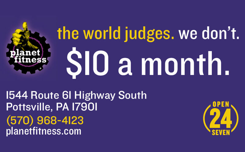 the world judges. we don't.planetfitness$10 a month.1544 Route 61 Highway SouthPottsville, PA 17901OPEN24(570) 968-4123planetfitness.comSEVEN the world judges. we don't. planet fitness $10 a month. 1544 Route 61 Highway South Pottsville, PA 17901 OPEN 24 (570) 968-4123 planetfitness.com SEVEN