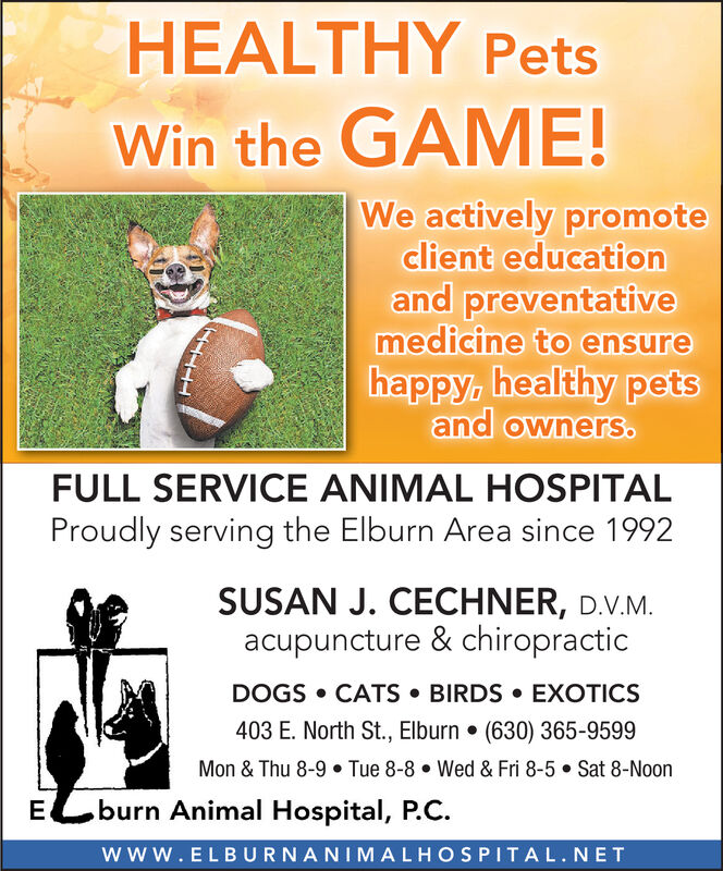 HEALTHY PetsWin the GAME!We actively promoteclient educationand preventativemedicine to ensurehappy, healthy petsand owners.FULL SERVICE ANIMAL HOSPITALProudly serving the Elburn Area since 1992SUSAN J. CECHNER, D.V.Macupuncture & chiropracticDOGS CATS BIRDS EXOTICS403 E. North St., Elburn . (630) 365-9599Mon & Thu 8-9. Tue 8-8Wed & Fri 8-5 Sat 8-Noonburn Animal Hospital, P.CEwww.ELBURNANIMALHOSPITAL.NET HEALTHY Pets Win the GAME! We actively promote client education and preventative medicine to ensure happy, healthy pets and owners. FULL SERVICE ANIMAL HOSPITAL Proudly serving the Elburn Area since 1992 SUSAN J. CECHNER, D.V.M acupuncture & chiropractic DOGS CATS BIRDS EXOTICS 403 E. North St., Elburn . (630) 365-9599 Mon & Thu 8-9. Tue 8-8 Wed & Fri 8-5 Sat 8-Noon burn Animal Hospital, P.C E www.ELBURNANIMALHOSPITAL.NET