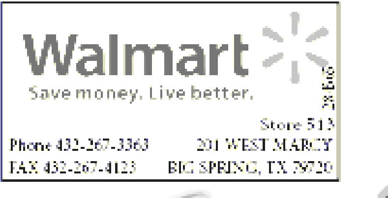 WalmartSave money. Live better.Store 513Phone 31-167-136WEST MARTFA 432-207-4123BIGSPEINC, T 0 Walmart Save money. Live better. Store 513 Phone 31-167-136 WEST MART FA 432-207-4123 BIGSPEINC, T 0