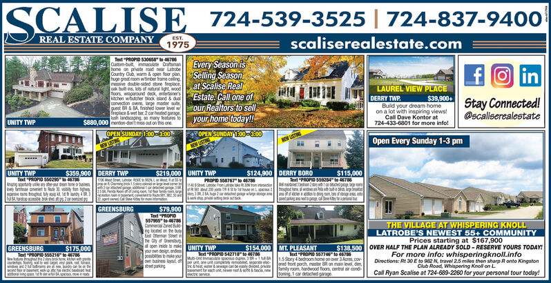 """SCALISE_724-539-3525   724-837-9400REAL ESTATE COMPANYESTscaliserealestate.com1975Text """"PROPID 530658a to 46786Cutom-buit immaculste Cramanehome on prvate noad near LatoberCountry Cub, wam& open floor planhuge great room wtimber trame celingmassive double-sided stone fireplaceDak buit-ins, lots of natural Iht, woodoors wparound deck entertainersakitchen wbutcher biock island& duaconvection ovens, large master sutequest BR&BA finshed lower ievel wfreplace & wet bar, 2 car heated garage.ush landscaping, so many featires toe$880,000 mention-don't miss out on ihs one.Every Season isSelling Seasonat Scalise RealEstate, Call one ofour Realtors to sellyour home today!!fOinLAUREL VIEW PLACEDERRY TWPBuild your dream homeon a lot with inspiring views!Call Dave Kontor at724-433-6801 for more info!$39,900+Stay Connected!@scaliserealestateUNITY TWPOPEN SUNDAY 1:00-3:00,OPEN SUNDAY 1:00-3:00Open Every Sunday 1-3 pmNEW USTINGNEW USTNEW USTNGUNITY TWPText-POPID 550210 to 4684$359,900 DERRY TWP$124,900 DERRY BORO$115,000$219,000eod Rt55 tUNITY TWPtd St uobe 3EtR Caig kText """"PROPIO 559284 to 46786ndbedo 2st ar ge aonot eube an t ding on tasfsgpedagananet ton a See y taPROPID 558767"""" to 46786An ountule hern to ba ed ggeat g mes me tetcstar daed pge 38torteRout 200rd o32BA hug2 r ege wtage nge a&sok shop priae ing dek at tthoue L o 2bey foe aneetepe trouhod ty t1ndy 4BR3Ful Bhard te2cr3vbi fo tgh25M Rond Roooonet2ant owned Cal e ormamionsGREENSBURG$79,900Text PROPIO557955 to 46786Commercial Zon Bsng locnd on te butEast Oean Strt inhe Oty of Grsunopen inside to makeUNITY TWPyour own design endespossbltes to nake yourown busins lyot ofr unt e unt completaty emodeed sepere eloc-street parkingTHE VILLAGE AT WHISPERING KNOLLLATROBE'S NEWEST 55+ COMMUNITYPrices starting at $167,900OVER HALF THE PLAN ALREADY SOLD RESERVE YOURS TODAY!For more info: whisperingknoll.infoDirections: Rt 30 E to 982 N, trawel 25 miles then sharp R onto KingstonClub Road, Whilspering Knoll on LCall Ryan Scalise at 7"""