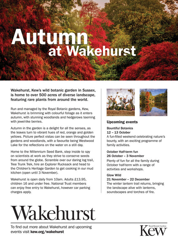 Autumnat WakehurstWakehurst, Kew's wild botanic garden in Sussex,is home to over 500 acres of diverse landscape,featuring rare plants from around the world.Run and managed by the Royal Botanic gardens, KewWakehurst is brimming with colourful foliage as it entersautumn, with stunning woodlands and hedgerows teemingwith jewel-like berries.Upcoming eventsAutumn in the garden is a delight for all the senses, asthe leaves turn to vibrant hues of red, orange and goldenyellows. Picture perfect vistas can be seen throughout thegardens and woodlands, with a favourite being WestwoodLake for the reflections on the water on a still day.Bountiful Botanics12 13 OctoberA fun-filled weekend celebrating nature'sbounty, with an exciting programme offamily activities.Home to the Millennium Seed Bank, step inside to spyon scientists at work as they strive to conserve seedsfrom around the globe. Scramble over our daring log trail,October Half-term fun26 October 3 NovemberPlenty of fun for all the family duringOctober half-term with a range ofactivities and workshops.Tree Trunk Trek, hire an Explorer Rucksack and head tothe Children's Heritage Garden to get cooking in our mudkitchen (open until 3 November).Glow WildWakehurst is open daily from 10am. Adults £13.95,children 16 and under free. National Trust memberscan enjoy free entry to Wakehurst, however car parkingcharges apply.21 November 22 DecemberThe winter lantern trail returns, bringingthe landscape alive with lanterns,soundscapes and torches of fire.WakehurstRoal Botani GardemKewTo find out more about Wakehurst and upcomingevents visit kew.orgE/wakehurst Autumn at Wakehurst Wakehurst, Kew's wild botanic garden in Sussex, is home to over 500 acres of diverse landscape, featuring rare plants from around the world. Run and managed by the Royal Botanic gardens, Kew Wakehurst is brimming with colourful foliage as it enters autumn, with stunning woodlands and hedgerows teeming with jewel-like berries. Upcoming events Autumn in the gard