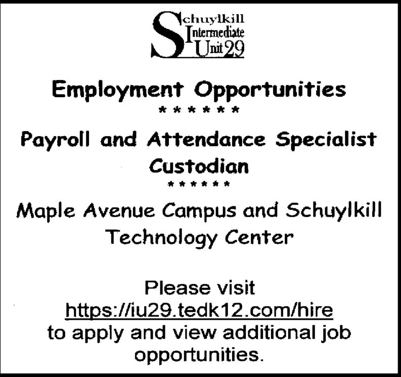\chuylkillniermediateUnit 29Employment OpportunitiesPayroll and Attendance SpecialistCustodianMaple Avenue Campus and SchuylkillTechnology CenterPlease visithttps://iu29.tedk12.com/hireto apply and view additional jobopportunities. \chuylkill niermediate Unit 29 Employment Opportunities Payroll and Attendance Specialist Custodian Maple Avenue Campus and Schuylkill Technology Center Please visit https://iu29.tedk12.com/hire to apply and view additional job opportunities.
