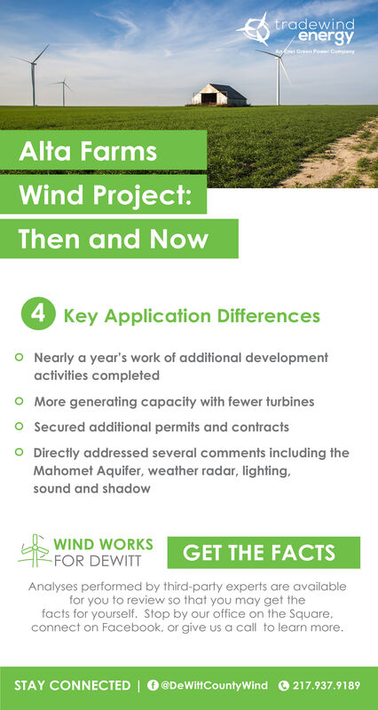 tradewindenergyAninel Green Pot Company)Alta FarmsWind Project:Then and Now4 Key Application DifferencesO Nearly a year's work of additional developmentactivities completedO More generating capacity with fewer turbineso Secured additional permits and contractsO Directly addressed several comments including theMahomet Aquifer, weather radar, lighting.sound and shadowWIND WORKSFOR DEWITTGET THE FACTSAnalyses performed by third-party experts are availablefor you to review so that you may get thefacts for yourself. Stop by our office on the Square,connect on Facebook, or give us a call to learn more.STAY CONNECTED DeWittCounty Wind 217.937.9189 tradewind energy Aninel Green Pot Company) Alta Farms Wind Project: Then and Now 4 Key Application Differences O Nearly a year's work of additional development activities completed O More generating capacity with fewer turbines o Secured additional permits and contracts O Directly addressed several comments including the Mahomet Aquifer, weather radar, lighting. sound and shadow WIND WORKS FOR DEWITT GET THE FACTS Analyses performed by third-party experts are available for you to review so that you may get the facts for yourself. Stop by our office on the Square, connect on Facebook, or give us a call to learn more. STAY CONNECTED DeWittCounty Wind 217.937.9189