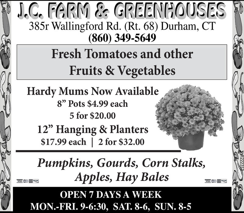 """J.C. FARM & GREENHOUSES385r Wallingford Rd. (Rt. 68) Durham, CT(860) 349-5649Fresh Tomatoes and otherFruits & VegetablesHardy Mums Now Available8"""" Pots $4.99 each5 for $20.0012"""" Hanging & Planters$17.99 each 2 for $32.00Pumpkins, Gourds, Corn StalksApples, Hay BalesWEAOPEN 7 DAYS A WEEKMON.-FRI. 9-6:30, SAT. 8-6, SUN. 8-R221324 J.C. FARM & GREENHOUSES 385r Wallingford Rd. (Rt. 68) Durham, CT (860) 349-5649 Fresh Tomatoes and other Fruits & Vegetables Hardy Mums Now Available 8"""" Pots $4.99 each 5 for $20.00 12"""" Hanging & Planters $17.99 each 2 for $32.00 Pumpkins, Gourds, Corn Stalks Apples, Hay Bales WEA OPEN 7 DAYS A WEEK MON.-FRI. 9-6:30, SAT. 8-6, SUN. 8- R221324"""