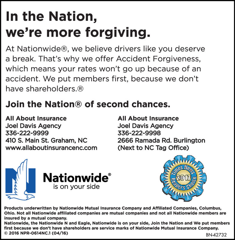 In the Nation,we're more forgiving.At Nationwide@, we believe drivers like you deservea break. That's why we offer Accident Forgiveness,which means your rates won't go up because of anaccident. We put members first, because we don'thave shareholders.®Join the Nation® of second chances.All About InsuranceAll About InsuranceJoel Davis Agency336-222-9999Joel Davis Agency336-222-9998410 S. Main St. Graham, NCwww.allaboutinsurancenc.com2666 Ramada Rd. Burlington(Next to NC Tag Office)Kimes2017GaiesNationwideis on your sideProducts underwritten by Nationwide Mutual Insurance Company and Affiliated Companies, Columbus,Ohio. Not all Nationwide affiliated companies are mutual companies and not all Nationwide members areinsured by a mutual company.Nationwide, the Nationwide N and Eagle, Nationwide is on your side, Join the Nation and We put membersfirst because we don't have shareholders are service marks of Nationwide Mutual Insurance Company.2016 NPR-0614NC.1 (04/16 )BN-42556ReatChice In the Nation, we're more forgiving. At Nationwide@, we believe drivers like you deserve a break. That's why we offer Accident Forgiveness, which means your rates won't go up because of an accident. We put members first, because we don't have shareholders.® Join the Nation® of second chances. All About Insurance All About Insurance Joel Davis Agency 336-222-9999 Joel Davis Agency 336-222-9998 410 S. Main St. Graham, NC www.allaboutinsurancenc.com 2666 Ramada Rd. Burlington (Next to NC Tag Office) Kimes 2017 Gaies Nationwide is on your side Products underwritten by Nationwide Mutual Insurance Company and Affiliated Companies, Columbus, Ohio. Not all Nationwide affiliated companies are mutual companies and not all Nationwide members are insured by a mutual company. Nationwide, the Nationwide N and Eagle, Nationwide is on your side, Join the Nation and We put members first because we don't have shareholders are service marks of Nationwide Mutual Insurance Company. 2016 NPR-0614NC.1 (04/16 ) BN-42556 Reat Chice