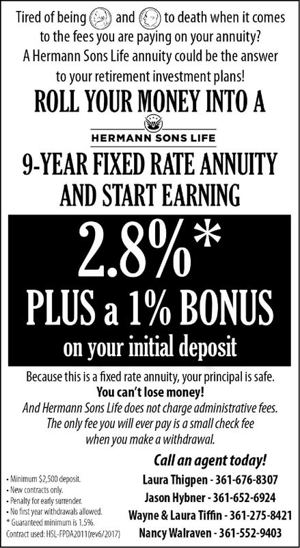 Tired of beingto the fees you are paying on your annuity?A Hermann Sons Life annuity could be the answerto your retirement investment plans!to death when it comesandROLL YOUR MONEY INTO AHERMANN SONS LIFE9-YEAR FIXED RATE ANNUITYAND START EARNING2.8%*PLUS a 1% BONUSon your initial depositBecause this is a fixed rate annuity, your principal is safe.You can't lose money!And Hermann Sons Life does not charge administrative fees.The only fee you will ever pay is a small check feewhen you make a withdrawal.Call an agent today!Laura Thigpen-361-676-8307Jason Hybner-361-652-6924Wayne&Laura Tiffin-361-275-8421Nancy Walraven-361-552-9403Minimum $2,500 depositNew contracts only.Penalty for early surrenderNo first year withdrawals allowed.Guaranteed minimum is 1.5%Contract used: HSL-FPDA2011(rev6/2017) Tired of being to the fees you are paying on your annuity? A Hermann Sons Life annuity could be the answer to your retirement investment plans! to death when it comes and ROLL YOUR MONEY INTO A HERMANN SONS LIFE 9-YEAR FIXED RATE ANNUITY AND START EARNING 2.8%* PLUS a 1% BONUS on your initial deposit Because this is a fixed rate annuity, your principal is safe. You can't lose money! And Hermann Sons Life does not charge administrative fees. The only fee you will ever pay is a small check fee when you make a withdrawal. Call an agent today! Laura Thigpen-361-676-8307 Jason Hybner-361-652-6924 Wayne&Laura Tiffin-361-275-8421 Nancy Walraven-361-552-9403 Minimum $2,500 deposit New contracts only. Penalty for early surrender No first year withdrawals allowed. Guaranteed minimum is 1.5% Contract used: HSL-FPDA2011(rev6/2017)