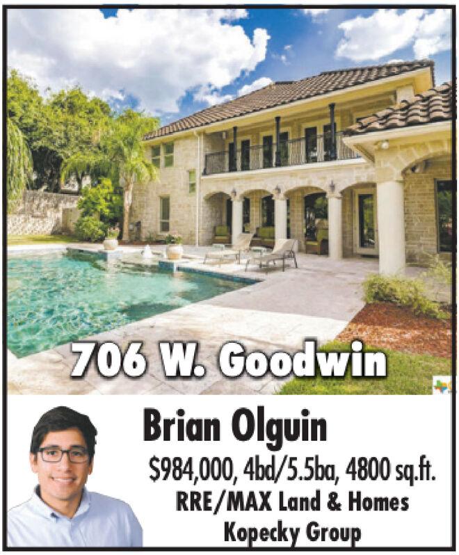 706 W. GoodwinBrian Olguin$984,000,4bd/5.5ba, 4800 sq.ft.RRE/MAX Land & HomesKopecky Group 706 W. Goodwin Brian Olguin $984,000,4bd/5.5ba, 4800 sq.ft. RRE/MAX Land & Homes Kopecky Group