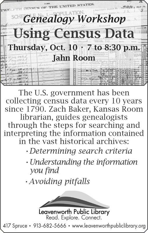 TWELPTH CENSUS OF THE UNITED STATESPOPULATIONSCHE E NoGenealogy WorkshopaudnUsing Census DataThursday, Oct. 10 7 to 8:30 p.m.Jahn RoomThe U.S. government has beencollecting census data every 10 yearssince 1790. Zach Baker, Kansas Roomlibrarian, guides genealogiststhrough the steps for searching andinterpreting the information containedin the vast historical archives:Determining search criteria. Understanding the informationyou findAvoiding pitfallsLeavenworth Public LibraryRead. Explore. Connect.417 Spruce 913-682-5666 www.leavenworthpubliclibrary.org TWELPTH CENSUS OF THE UNITED STATES POPULATION SCHE E No Genealogy Workshop aud n Using Census Data Thursday, Oct. 10 7 to 8:30 p.m. Jahn Room The U.S. government has been collecting census data every 10 years since 1790. Zach Baker, Kansas Room librarian, guides genealogists through the steps for searching and interpreting the information contained in the vast historical archives: Determining search criteria . Understanding the information you find Avoiding pitfalls Leavenworth Public Library Read. Explore. Connect. 417 Spruce 913-682-5666 www.leavenworthpubliclibrary.org