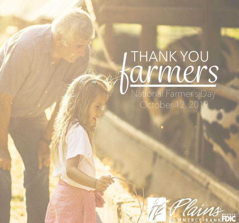 THANK YOUNational Farmer's DayOctober 12, 2019RainsMEMBERCOMMERCE BANKFDIC THANK YOU National Farmer's Day October 12, 2019 Rains MEMBER COMMERCE BANKFDIC