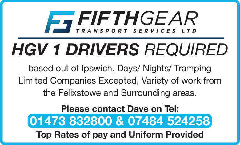 FIFTHGEARTRANSPORT SERVICES LTDHGV 1 DRIVERS REQUIREDbased out of lpswich, Days/ Nights/ TrampingLimited Companies Excepted, Variety of work fromthe Felixstowe and Surrounding areas.Please contact Dave on Tel:01473 832800& 07484 524258Top Rates of pay and Uniform Provided FIFTHGEAR TRANSPORT SERVICES LTD HGV 1 DRIVERS REQUIRED based out of lpswich, Days/ Nights/ Tramping Limited Companies Excepted, Variety of work from the Felixstowe and Surrounding areas. Please contact Dave on Tel: 01473 832800& 07484 524258 Top Rates of pay and Uniform Provided
