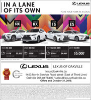 """LEXUSIN A LANEOF ITS OWNEXPERIENCE AMAZINGMAKE YOUR MARK IN A LEXUSLEXUSLEXUSLEXUSLEXUSNXRXISESPrm Package ShowEanout Package ShoF SPORT Series 1shownFSPORT Seres 25hew2020 RX 3502019 IS 300 AWD2019 ES 3502020 NX 300LEASE APR1.9%40 MONTHSBWEEKLYLEASE PAMENT FROM DELNERY CRES OF UP TOLEASE APRBWEEYLEASE PYMENT FROM DELMER CREDS OF UPO EASE APR$178BEEY LEASE PAMENT FROM DENERY CEDS OF UPOTOTAL CREDITS OF UP TO$5,0002.9%$1,000 0.9% $ 18840 MONTHS$258$3,500$4,00040 MONTHSDOWN PAMENT $4.200DOWN PAMENT $6830DOWN PAYMENT S5.020PAYMENT INCLUDES $1,000 DELIVERY CREDITPAYMENT INCLUDES $4.000 DELVERY CREDITPAYMENT INCLUDES $3,500 DELIVERY CREDITOLEXUSLEXUS OF OAKVILLE018-2020QLEXUSlexusofoakville.caCONSUMERCHOICE AWARo20191453 North Service Road West (East of Third Line)Oakville 905.847.8400 sales@lexusofoakville.caOffers end October 31, 2019.GTASERVICE MANAGEMENTCERTIFIE5Total Credits of up to $5000 are available on the retail purchase of a new and previously unregistered 2019 Lexus ES 350 (Suffix PL, M. F GI from an authorized Canadian Lexus Dealer. Vehicle must be purchased, registeredand delivered between October 1, 2019 and October 31. 2019. Total Credies consist of: lil $3.000 in *Delivery Credits: and li) $2.000 in Cash Purchase Credits (cannot be combined with special lease and finance rates offeredthrough Lexus Financial Services). All credits are applied after taxes have been charged on the full amount of the negotiated peice. """"Lease offers provided through Lexus Financial Services, on approved credit. Representativelease example based on a 2019 IS 300 AWD stx B on a 40 month serm at an annual rate of 0.9% and Complete Lexus Price of $47706. Biweekly lease payment is $188 with S5,020 down payment or equivalent trade in, s0 securitydeposit and first bi-weekly lease payment due at lease inception Total of 86 bi-weekly lease payments required during the lease term.Total lease obligation is $21,102. Representative lease example based on a 2020 NX 300 sfxon a 40 month ter"""