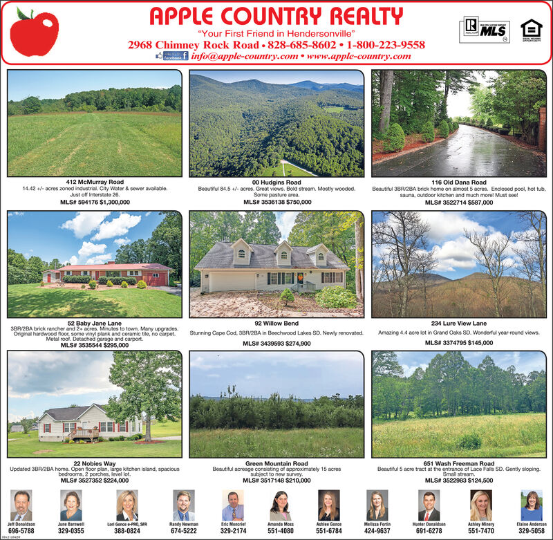 "APPLE COUNTRY REALTYMLS""Your First Friend in Hendersonville""2968 Chimney Rock Road 828-685-8602 1-800-223-9558info@apple-country.com www.apple-country.comEALOR412 McMurray Road14.42acres zoned industrial. City Water & sewer available.Just off Interstate 26MLS# 594176 $1,300,00000 Hudgins RoadBeautiful 84.5+-acres. Great views. Bold stream. Mostly woodedSome pasture areaMLS# 3536138 $750,000116 Old Dana RoadBeautiful 38R/28A brick home on almost 5 acres. Enclosed pool, hot tub,sauna, outdoor kitchen and much more! Must see!MLS# 3522714 $587,00052 Baby Jane Lane38A/2BA brick rancher and 2+ acres. Minutes to town. Many upgrades.Original hardwood floor, some vinyl plank and ceramic tile, no carpetMetal roof, Detached garage and carportMLS# 3535544 $295,00092 Willow Bend234 Lure View LaneStunning Cape Cod, 3BR/2BA in Beechwood Lakes SD. Newly renovatedAmazing 4.4 acre lot in Grand Oaks SD. Wonderful year-round views.MLS# 3374795 $145,000MLS# 3439593 $274,90022 Nobies WayGreen Mountain RoadBeautiful acreage consisting of approximately 15 acressubject to riew surveyMLS# 3517148 $210,000651 Wash Freeman RoadUpdated 3BR/2BA home. Open floor plan, large kitchen islsand, spaciousbedrooms, 2 porches, level lot.Beautiful 5 acre tract at the entrance of Lace Fals SD. Gently slopingSmall stream.MLS# 3527352 $224,000MLS# 3522983 $124,500Lori Gonce e-PRO, SR388-0824June arwel329-0355Je DenaldsonRandy Newman674-5222Eric MoncrietAmanda MossAshlee GenceMelissa FortinManter DenaldsoAshley Minery551-7470Eaine Andersan696-5788329-2174551-4080551-6784424-9637691-6278329-5058 APPLE COUNTRY REALTY MLS ""Your First Friend in Hendersonville"" 2968 Chimney Rock Road 828-685-8602 1-800-223-9558 info@apple-country.com www.apple-country.com EALO R 412 McMurray Road 14.42acres zoned industrial. City Water & sewer available. Just off Interstate 26 MLS# 594176 $1,300,000 00 Hudgins Road Beautiful 84.5+-acres. Great views. Bold stream. Mostly wooded Some pasture area MLS# 3536138 $750,000 116 Old Dana Road Beautiful 38R/28A brick home on almost 5 acres. Enclosed pool, hot tub, sauna, outdoor kitchen and much more! Must see! MLS# 3522714 $587,000 52 Baby Jane Lane 38A/2BA brick rancher and 2+ acres. Minutes to town. Many upgrades. Original hardwood floor, some vinyl plank and ceramic tile, no carpet Metal roof, Detached garage and carport MLS# 3535544 $295,000 92 Willow Bend 234 Lure View Lane Stunning Cape Cod, 3BR/2BA in Beechwood Lakes SD. Newly renovated Amazing 4.4 acre lot in Grand Oaks SD. Wonderful year-round views. MLS# 3374795 $145,000 MLS# 3439593 $274,900 22 Nobies Way Green Mountain Road Beautiful acreage consisting of approximately 15 acres subject to riew survey MLS# 3517148 $210,000 651 Wash Freeman Road Updated 3BR/2BA home. Open floor plan, large kitchen islsand, spacious bedrooms, 2 porches, level lot. Beautiful 5 acre tract at the entrance of Lace Fals SD. Gently sloping Small stream. MLS# 3527352 $224,000 MLS# 3522983 $124,500 Lori Gonce e-PRO, SR 388-0824 June arwel 329-0355 Je Denaldson Randy Newman 674-5222 Eric Moncriet Amanda Moss Ashlee Gence Melissa Fortin Manter Denaldso Ashley Minery 551-7470 Eaine Andersan 696-5788 329-2174 551-4080 551-6784 424-9637 691-6278 329-5058"