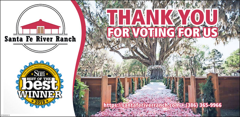 THANK YOUFOR VOTING FOR USSanta Fe River RanchOFFICIAL FEOPLrs cSunCHOICE ANARDsBEST OF THEbestWINNER2019http:://santaferiverranch.como (386) 365-9966orGHOSS12o m THANK YOU FOR VOTING FOR US Santa Fe River Ranch OFFICIAL FEOPLrs c Sun CHOICE ANARDs BEST OF THE best WINNER 2019 http:://santaferiverranch.como (386) 365-9966 orGHOSS12 o m