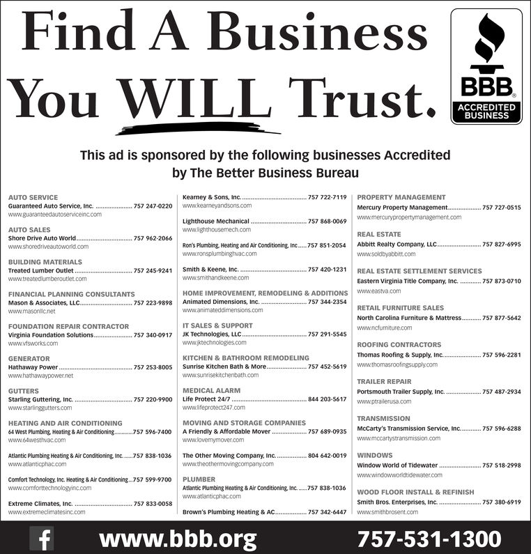 Find A BusinessYouWILL Trust.ACCREDITEDBUSINESSThis ad is sponsored by the following businesses Accreditedby The Better Business BureauAUTO SERVICEPROPERTY MANAGEMENTKeamey & Sons, Inc..www.kearneyandsons.com757 722-7119Guaranteed Auto Service, Inc.757 247-0220Mercury Property Management..757 727-0515www.guaranteedautoserviceinc.comwww.mercurypropertymanagement.comLighthouse Mechanical.www.lighthousemech.com757 868-0069AUTO SALESREAL ESTATEShore Drive Auto World.757 962-2066Ron's Plumbing, Heating and Air Conditioning, Inc..www.ronsplumbinghvac.comAbbitt Realty Company, LLC.757 827-6995757 851-2054www.shoredriveautoworld.comwww.soldbyabbitt.comBUILDING MATERIALSTreated Lumber outlet..www.treatedlumberoutlet.comSmith & Keene, Inc. .757 420-1231757 245-9241REAL ESTATE SETTLEMENT SERVICESwww.smithandkeene.comEastern Virginia Title Company, Inc.757 873-0710www.eastva.comHOME IMPROVEMENT, REMODELING & ADDITIONSAnimated Dimensions, Inc.FINANCIAL PLANNING CONSULTANTS757 344-2354Mason & Associates, LLC..757 223-9898RETAIL FURNITURE SALESwww.animateddimensions.comwww.masonllc.netNorth Carolina Furniture & Mattress.757 877-5642IT SALES & SUPPORTFOUNDATION REPAIR CONTRACTORwww.ncfurniture.comJK Technologies, LLCwww.jktechnologies.comvirginia Foundation Solutions.757 291-5545757 340-0917www.vfsworks.comROOFING CONTRACTORSThomas Roofing & Supply, Inc..757 596-2281KITCHEN & BATHROOM REMODELINGGENERATORwww.thomasroofingsupply.comSunrise Kitchen Bath & More..www.sunrisekitchenbath.comHathaway Powerwww.hathawaypower.net757 452-5619757 253-8005TRAILER REPAIRGUTTERSMEDICAL ALARMPortsmouth Trailer Supply, Inc.757 487-2934Life Protect 24/7844 203-5617Starling Guttering, Inc.www.starlinggutters.com757 220-9900www.ptrailerusa.comwww.lifeprotect247.comTRANSMISSIONMOVING AND STORAGE COMPANIESHEATING AND AIR CONDITIONINGMcCarty's Transmission Service, Inc..757 596-6288A Friendly & Affordable Mover64 West Plumbing Heating &Air Conditioningwww.64westhvac.com757 596-7400757 689-0935www.mccartys