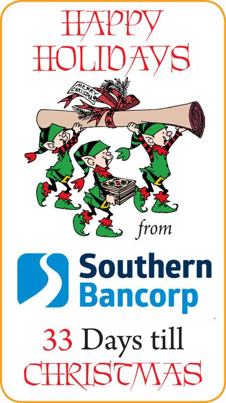 HAPPYHOLIDAYSMEKYCARISTANSfromSouthernBancorp47 Days tillCHRISTMAS HAPPY HOLIDAYS MEKY CARISTANS from Southern Bancorp 47 Days till CHRISTMAS