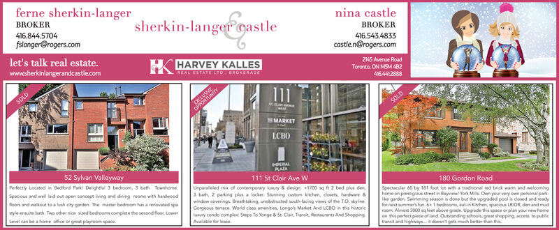 ferne sherkin-langerBROKERsherkin-langer oastlenina castle416.844.5704fslanger@rogers.comBROKER416.543.4833let's talk real estate.castle.n@rogers.comHARVEY KALLESwww.sherkinlangerandcastlecom245 Avenue RoadToronto, ON MSM 4B2REAL ESTATE LTO BROKERAGE4164412888SOLDEXCLUSIVEOPPORTUNITYSOLDMARKETLCBO52 Sylvan ValleywayPerfectly Located in Bedfond Park Delightlul 3 bedroom, 3 bath Townhome.Spacious and well laid out open concept living and diing rooms with hardwoodOALRAEA111 St Clair Ave WUnparaleled mix of contemporary usury & design 1700 sq ft 2 bed plus den,3 bath, 2 parking plus a locker. Stunning custom kitchen, closets, hardware &window coverings Breathtaking, unobstucted south-facing views of the T.O. skylineGorgeous terace. World class amenities, Longo's Market And LCBO in this hissoriclusury condo complex: Steps To Yonge &St. Ca, Transit, Restaurants And Shopping180 Gordon Roadfioors and walkout to a lush city garden. The master bedroom has a renovated spaSpectacular 60 by 181 foot lot with a tradtional red brick warm and welcominghome on prestigious street in Bayview/ York Mils. Own your very own personal park-ike garden. Swimming season is done but the upgraded pool is closed and readyfor next summer's fun. 6 1 bedsooms, eat-in Kitchen, spacious LRDR, den and mudroom Almost 3000 sq feet above grade. Upgrade this space or plan your new homeon this perfect piece of land Outstanding schools, great shopping, access to publictransit and highwaysit doesn't gets much better than thisyle ensuite bath. Two other nice sized bedrooms complete the second foor LowerLevel can be a home office or great playroom spaceAailabie for leane. ferne sherkin-langer BROKER sherkin-langer oastle nina castle 416.844.5704 fslanger@rogers.com BROKER 416.543.4833 let's talk real estate. castle.n@rogers.com HARVEY KALLES www.sherkinlangerandcastlecom 245 Avenue Road Toronto, ON MSM 4B2 REAL ESTATE LTO BROKERAGE 4164412888 SOLD EXCLUSIVE OPPORTUNITY SOLD MARKET LCBO 52 Sylvan Valleyway Perf