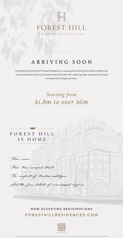 FOREST HILLPRIVATE RESIDENCESARRIVING SOONIntroducing Forest Hill Private Residences, a boutique building of timeless residentialsuites overlooking the lush green hues of Forest Hill, offering high-end amenities andunmatched lifestyle services.Starting from$1.8m to over $6mFOREST HILLIS HOMEThanTtaearapad stateThe comfarte of timetia routitgaApd te fare htad of moeurpoared etigaretNOW ACCEPTING REGISTRATIONSFORESTHILLRESIDENCES.COMac FOREST HILL PRIVATE RESIDENCES ARRIVING SOON Introducing Forest Hill Private Residences, a boutique building of timeless residential suites overlooking the lush green hues of Forest Hill, offering high-end amenities and unmatched lifestyle services. Starting from $1.8m to over $6m FOREST HILL IS HOME Than Ttaearapad state The comfarte of timetia routitga Apd te fare htad of moeurpoared etigaret NOW ACCEPTING REGISTRATIONS FORESTHILLRESIDENCES.COM ac