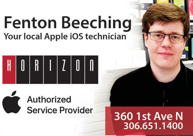 Fenton BeechingYour local Apple iOS technicianHORIZONAuthorizedService Provider360 1st AVEN306.651.1400 Fenton Beeching Your local Apple iOS technician HORIZON Authorized Service Provider 360 1st AVEN 306.651.1400