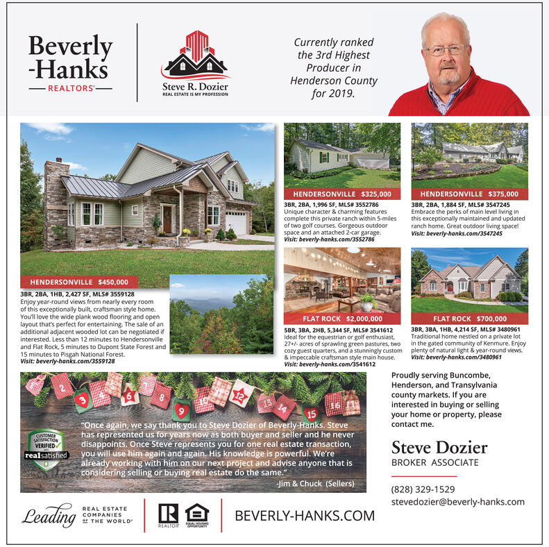 """Beverly-HankCurrently rankedthe 3rd HighestProducer inHenderson Countyfor 2019.Steve R. DozierREALTORSREAL ESTATE IS MY PROFESSIONHENDERSONVILLE $325,000HENDERSONVILLE $375,0003BR, 2BA, 1,884 SF, MLS# 3547245Embrace the perks of main level living inthis exceptionally maintained and updatedranch home. Great outdoor living space!Visit: beverly-hanks.com/35472453BR, 28A, 1,996 SF, MLS 3552786Unique character & charming featurescomplete this private ranch within 5-milesof two golf courses. Gorgeous outdoorspace and an attached 2-car garage.Visit: beverly-hanks.com/3552786HENDERSONVILLE $450,0003BR, 2BA, 1HB, 2,427 SF, MLS# 3559128Enjoy year-round views from nearly every roomof this exceptionally built, craftsman style home.You'll love the wide plank wood flooring and openlayout that's perfect for entertaining. The sale of anadditional adjacent wooded lot can be negotiated ifInterested. Less than 12 minutes to Hendersonvilleand Flat Rock, 5 minutes to Dupont State Forest and15 minutes to Pisgah National Forest.Visit: beverly-hanks.com/3559128FLAT ROCK $2,000,000FLAT ROCK $700,0005BR, 3BA, 2HB, 5,344 SF, MLS# 3541612ideal for the equestrian or golf enthusiast,27+/- acres of sprawling green pastures, twocozy guest quarters, and a stunningly custom& impeccable craftsman style main house.Visit: beverly-hanks.com/35416123BR, 3BA, 1HB, 4,214 SF, MLS# 3480961Traditional home nestled on a private lotin the gated community of Kenmure. Enjoyplenty of natural light & year-round views.Visit: beverly-hanks.com/3480961Proudly serving Buncombe,Henderson, and Transylvaniacounty markets. If you areinterested in buying or sellingyour home or property, please""""Once again, we say thank you to Steve Dozier of Beverly-Hanks. Stevehas represented us for years now as both buyer and seller and he neverdisappoints. Once Steve represents you for one real estate transaction,you will use him again and again. His knowledge is powerful. We'realready working with him on our next project and advise anyon"""